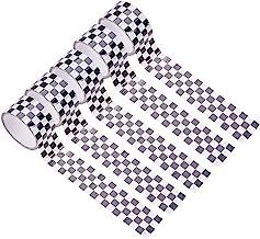 WANDIC Geruite vlagband, 5 rollen zwart-wit dambord tape zelfklevende sticker voor doe-het-zelf ambachten, feestversiering...