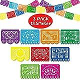 Boao 3 Paquetes Banderas de Fiesta de Mexicana Bandera de Plástica de Fiesta Guirnaldas de Papel Picado de Plástica Grande de Mexicana para Suministros de Fiesta