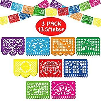Boao Mexican Party Banners Fiesta Plastic Banners Dia De Los Muertos Decorations Mexicano Large Plastic Papel Picado Banners for Party Supplies  3 Packs