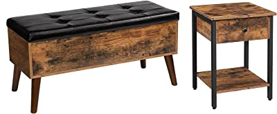 HOOBRO Nightstand and Storage Bench Bundle, Side Table with Drawer and Storage Shelf, Flip Top Entryway Bench Seat with Safety Hinge, Storage Chest with Padded Seat, Rustic Brown and Black