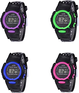 RONSHIN Gifts for Children Student LCD Digital Watch EL Luminous Week 24 Hour Display Sports Wristwatch Boy Girl Gift Purple