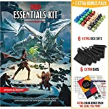 Dungeons and Dragons Essentials Kit 5th Edition with Complete Starter Pack – 6 D&D Dice Sets in Black Bags and DND Beginner Printable Materials