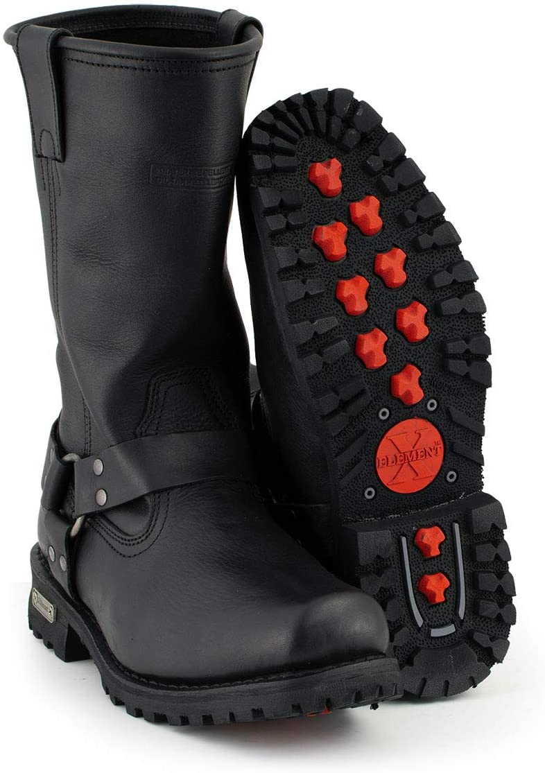 Xelement 1443 Men's Black Harness Biker Columbus Mall with New product Boots Lu Motorcycle