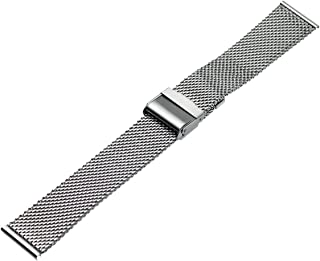 RECHERE Mesh Stainless Steel Bracelet Wrist Watch Band Strap Interlock Safety Clasp Silver 18 20 22 24mm