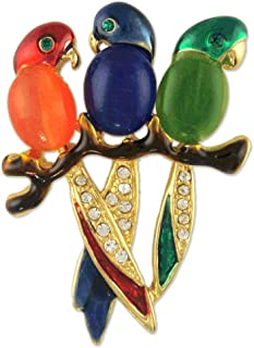 RED Blue Green Triple Parrot Crystal Brooch PIN Made with Swarovski Elements