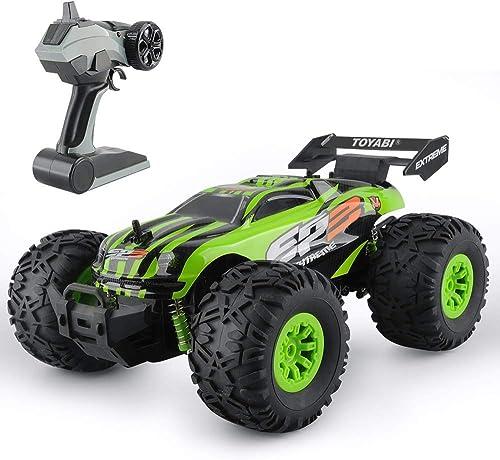 Pinjeer RC Auto 2,4 GHz 1 18 Monster 15 KM H LKW Auto Fernbedienung Auto Spielzeug Controller Modell Gel ewagen LKW Jungen Spielzeug Geburtstagsgeschenke für Kinder 5 + (Farbe   Grün)