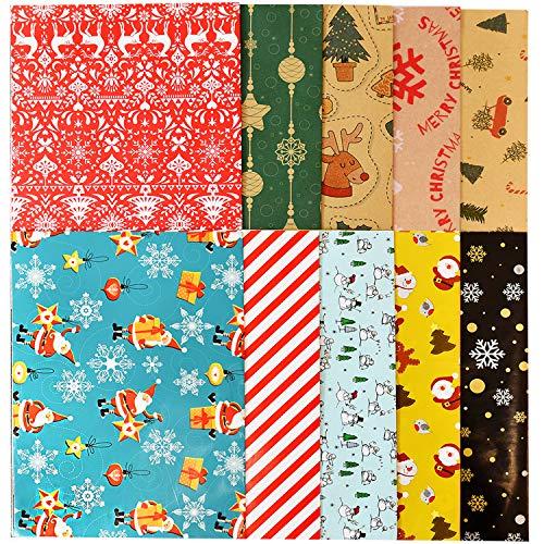 Christmas Wrapping Paper Bundle, Rustic Christmas Santa Claus, Snowman, Moose, Snowflake, Christmas Tree, Cnady Canes, Red Stripes, Polka Dots for Christmas 10 Sheets, 127x178cm Each Sheet