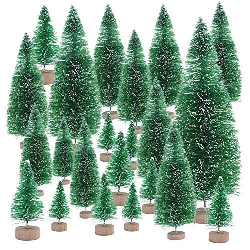 LAMF 15Pcs Mini Christmas Tree Set Miniature Pine Trees Sisal Trees with Wood Base and Snow Snow Frosted Trees for Xmas Holiday Party Home Tabletop Tree Decor, Mixed Size
