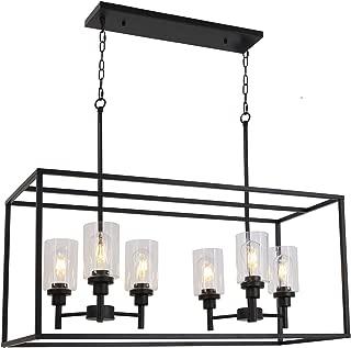 VINLUZ 6 Light Contemporary Glass Chandeliers Black Industrial Kitchen Island Lighting Fixtures Hanging for Dining Room Kitchen Island Bar