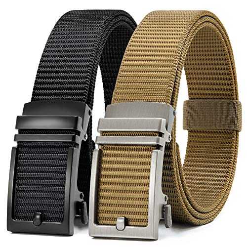 Chaoren Nylon Ratchet Belt 2 Pack, Mens Casual Belt for Golf Fully Adjustable Trim to Exact Fit [coupon: 5087OLDV] (50% off) - $12.9