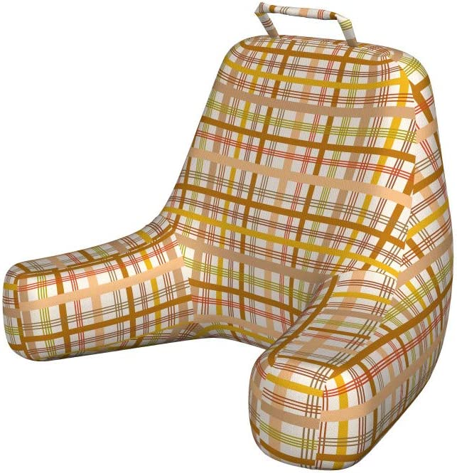 Ambesonne Brown Plaid Bedrest with and OFFicial Vertical Pocket Directly managed store Hor Back