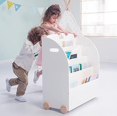 Kid Bookshelf with Wheels, White Wood Bookshelf Display Stand for Kids 1 Year Up, Baby Book Shelf/Child Bookshelf/Toddler Boo
