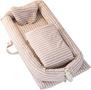 WNZL Baby Lounger  Striped-Baby Lounger Breathable  Washable  Portable and Lightweight Perfect for Cuddling  Lounging  Sleeping  Napping and Travel 0-24 Months  Brown