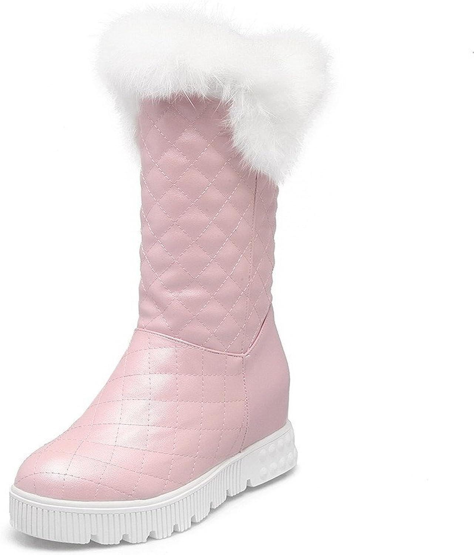 AllhqFashion Women's Round Closed Toe Mid-Top Kitten-Heels Solid PU Boots