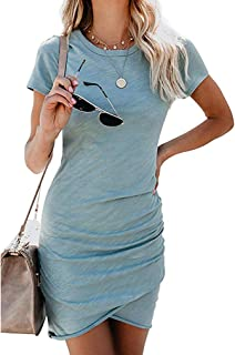 Women�s 2020 Casual Crew Neck Ruched Stretchy Tulip Hem Bodycon Short Mini Dress T Shirt Sheath Dresses