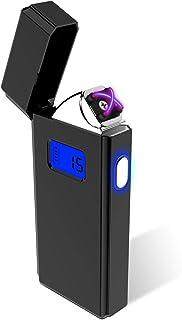 電子ライター USBライター 点煙回数表示 プラズマ 充電ライター 葉巻ライター 防風 軽量LED 誕生日 プレゼント ブラック