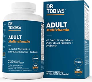 Dr Tobias Adult Multivitamin – Enhanced Bioavailability – with Whole Foods,..