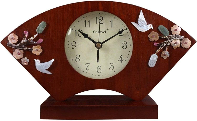 デスククロックファミリークロックマンテルクロック、ウッドサイレントノンティッキング装飾用リビングルームベッドサイド置時計リビングルームの寝室用オフィス