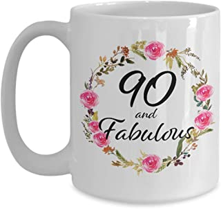 90 and Fabulous Coffee Cup - 90th Birthday Mug - Christmas Bday Present Best Unique 90 Year Old Gift Ideas for Her Born 1929 - Women Mom Wife Aunt Grandma Grandmother - 15oz