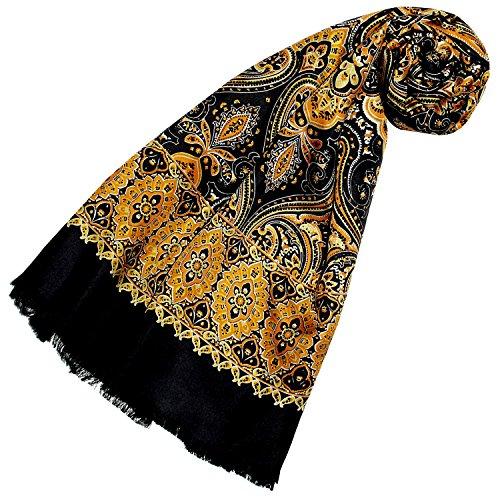 LORENZO CANA Foulard de 50% soie et 50% laine pour la femme – écharpe réversible avec les mesures de 30 x 160 cm - attrayant et noble pour le printemps et l´été en jaune ocre orange noir
