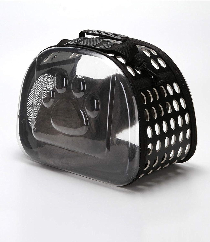 Folding Pet Travel Carrier Dog Bags Portable Breathable Cat Bag (color   Black, Size   L)