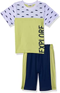Giggles Printed Short Sleeves Round Neck T-shirt with Two-Tone Shorts Pajama Set For Boys