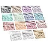 Housuner 2580 pcs Rhinestone Stickers in 15 Colors & 3 Sizes, 15 Sheets DIY Self Adhesive Colorful Gem Rhinestone Embellishment Stickers Sheet Fits for Crafts, Body, Nails, etc. (Multi-Color)