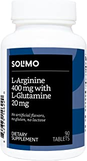 Amazon Brand - Solimo L-Arginine 400 mg with L-Glutamine 20 mg, 90 Tablets