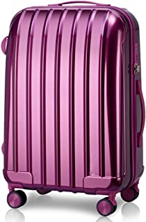 Stylish and Simple Trolley Case, PC+ Polyester Convenient Large Capacity Luggage Universal Wheel Boarding Suitcase, 20 Inches (Color : Purple)