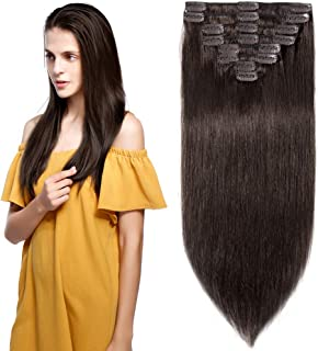10 inch 70g Clip in Remy Human Hair Extensions Full Head 8 Pieces Set Short length Straight Very Soft Style Real Silky for Beauty #2 Dark Brown