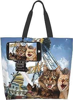 EZYES Canvas Tote Bag African American Shoulder Bags Black Girl Shopping Bag