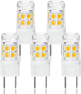 LED G8 Light Bulb, G8 GY8.6 Bi-pin Base LED, Not Dimmable T4 G8 Base Bi-pin Xenon JCD Type LED 120V 50W Halogen Replacement Bulb for Under Counter Kitchen Lighting (5-Pack) (G8 3W Warm White)