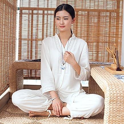 Cotton Yoga suits female Yoga wear loose clothing female tea meditation lay clothes,M,Milk white