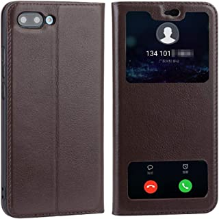 Leather Case Compatible with Huawei Honor 10, Genuine Leather Ultra Thin Flip Dual Window View Stand Feature Case Cover Phone case (Color : Brown)