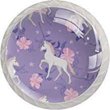Roze Bloem Eenhoorn 4 stks Keukenkast Handvat Lade Pull Kabinet Handvat Decoratieve Handwerk Handvat