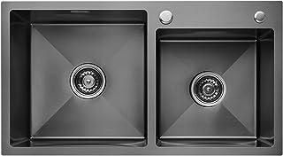 CECIPA Grantas E4 I Fregadero cocina dos senos de 78 cm x 43 cm I Negro I Acero imoxidable I Incluyendo dispensador de jab...