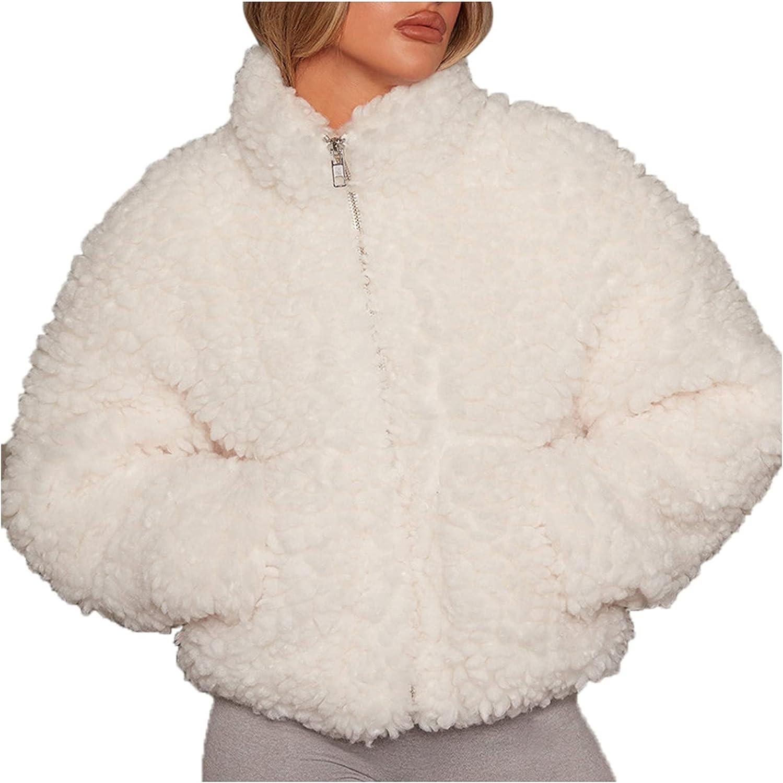 Women Casual Fuzzy Sherpa Coats Warm Fluffy Jacket with Fleece Lined Crop top Zipper Faux Jacket Outwear with Pockets