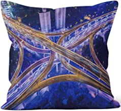 Nine City Aerial View of Shanghai Highway at Night Burlap Pillow,HD Printing for Couch Sofa Bedroom Livingroom Kitchen Car,36