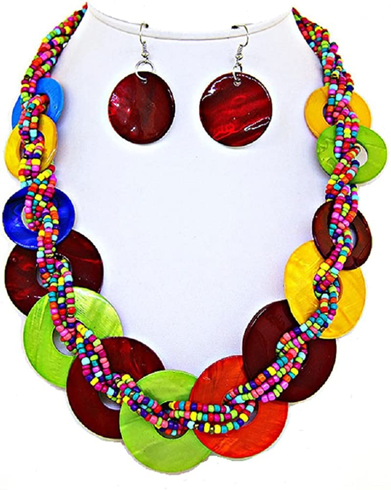 Rose's Gift Store~Fashion Jewelry Multi Color Shells and Braided Beads Necklace and Earring Set