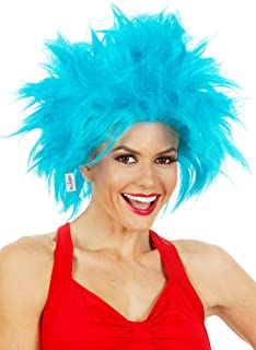 Funky Blue Thing Wig. One Size Fits Kids & Adults. Blue Rick Morty Wig. Crazy Men Women Blue Hair Wigs