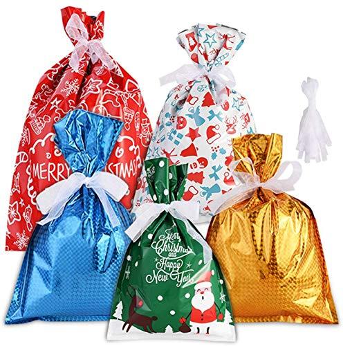 GOLDGE 30PCS Sacs Cadeaux de Noël, Sacs Cadeaux de Noël en Plastique avec 30 Ruban d'emballage pour Décoration et Emballage Cadeau Noël