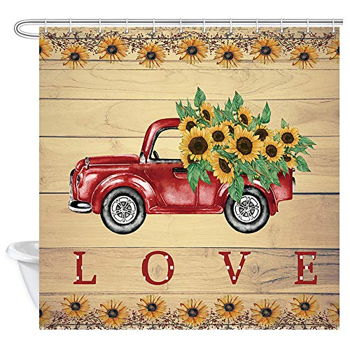DYNH Sunflower in Retro Truck Shower Curtain for Bathroom, Vintage Red Car Pulls Sunflower and Love on Rustic Wooden Board Bath Curtains, Valentines Shower Curtain 12PCS Hooks, 69X70IN