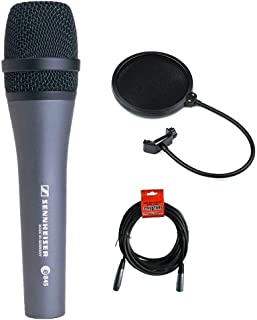 Sennheiser E845 Super Cardioid Handheld Dynamic Microphone with XLR-XLR Cable and Pop filter