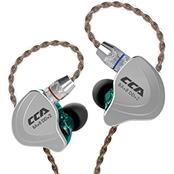 CCA C10 High-Performance in-Ear Monitor,HiFi 1DD 4BA Hybrid Five Drivers in-Ear Earphone,Zinc Alloy Shell+Resin Cavity Wired Earbuds with 0.75mm 2 Pin Gold Plated Detachable Cable(Cyan Without mic) …