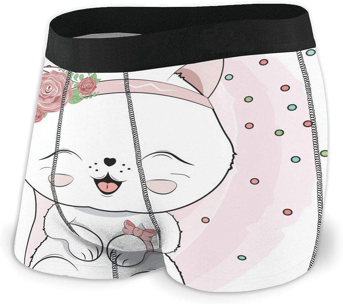 Mens Boxer Briefs Lovely Cute White Kitten Cat Breathable Underwear