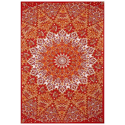 Gokul Handloom Popular Red Twin Star Hippie Mandala Bohemian Psychedelic Intricate Floral Design Indian Bedspread Wall Art Wall Hanging Tapestry 85x55 Inches