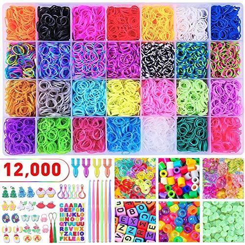 badiJum 12000+ bunte Gummi-Webstuhlbänder, 28 verschiedene Farben, Mega-Nachfüllset, Armbandherstellungs-Set für Kinder, zum Basteln, Weben, 600 S-Clips, 300 Perlen, 4 Y-Looms, 6 Haken, Organizer-Etui