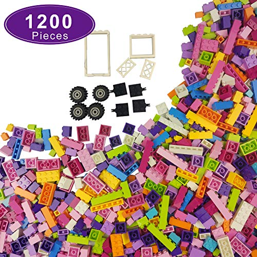 AIRKE 1200 Piece Building Blocks Kit with Wheels, Tires, Axles, People, Windows and Doors Pieces - Classic Colors Building Bricks - Compatible with All Major