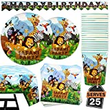 102 Piece Safari Animal Party Supplies Set Including Banner, Plates, Cups, Napkins, and Tablecloth, Serves 25
