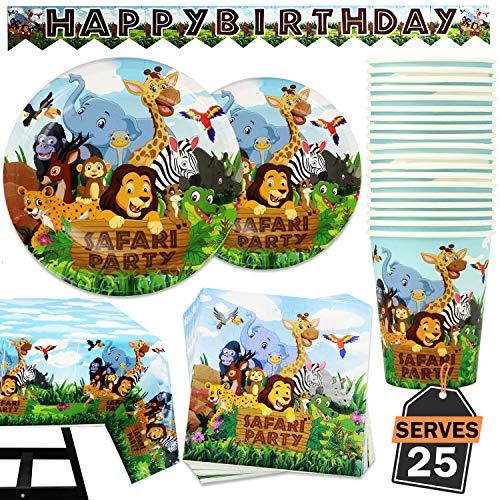 102 piezas de Accesorios para Fiesta Safari Artículos de Decoración de Celebración Temática de Animales Set de Pancarta, Platos, Vasos, Servilletas y Mantel, 25 Personas